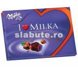 Poza aliment (Indice Glicemic si Incarcatura Glicemica) Praline I love Milka de ciocolata cu lapte din Alpi, umplute cu crema de migdale si un strat de alune crocante, Milka